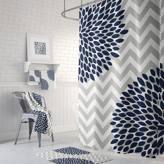 Modern Bathroom Shower Curtain Grey And White Chevron With Navy