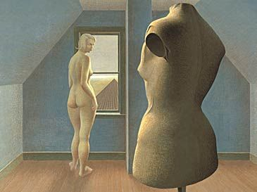 colville - constructing paintings set in attic of the house. set on the golden ratio. nude and dummy 1950. surreal, set up, but somehow real looking, very deliberate