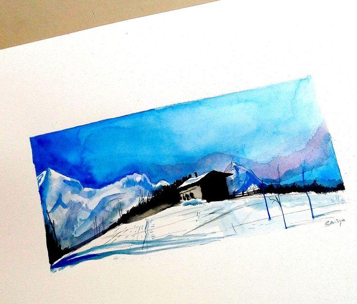 29.3 x 21 #watercolor #suluboya #bluesky