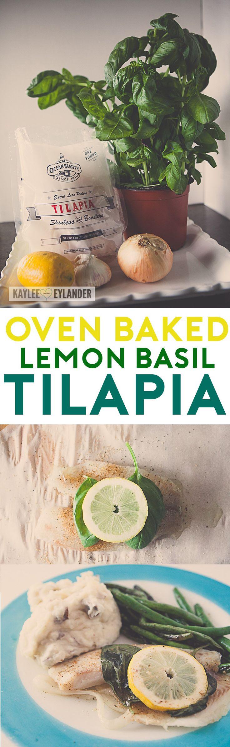 Oven Baked Tilapia Fish with Lemon Garlic and Basil