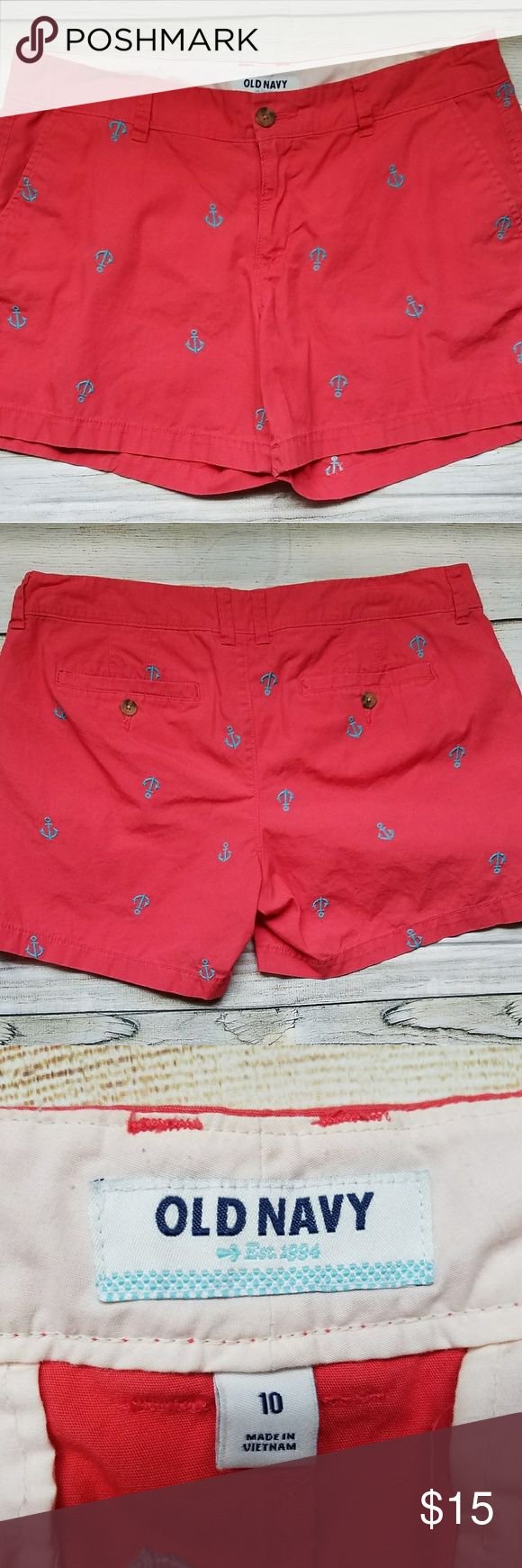 Old Navy Coral Anchor Shorts Sz 10 Nice pair of shorts great for Summer and the beach. Embroidered teal anchors on coral shorts. Message me with any questions. Old Navy Shorts
