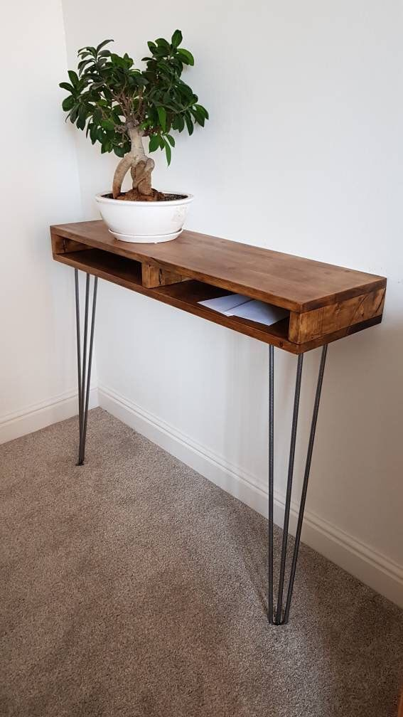 Narrow Hallway Console Table Hairpin Legs Rustic Table Side