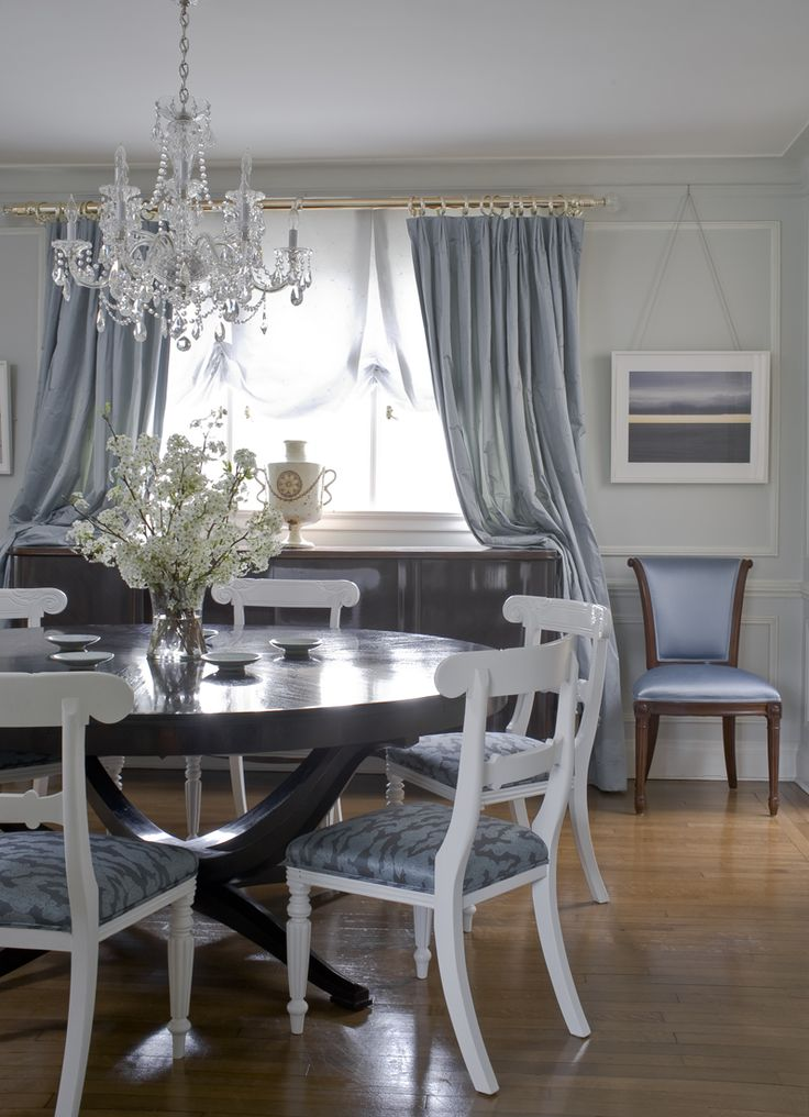 """Let your wardrobe inspire your decor. """"Why not try painting and decorating a public room entirely in a color that you love to wear?"""" designer Young Huh says. """"You'll always look good and feel good in it. I painted my dining room powder blue and added matching silk satin curtains and upholstery. It's an unusual color choice for a dining room — perhaps more typical of a bedroom — but I love it and therefore love entertaining in it too.""""   - Veranda.com"""