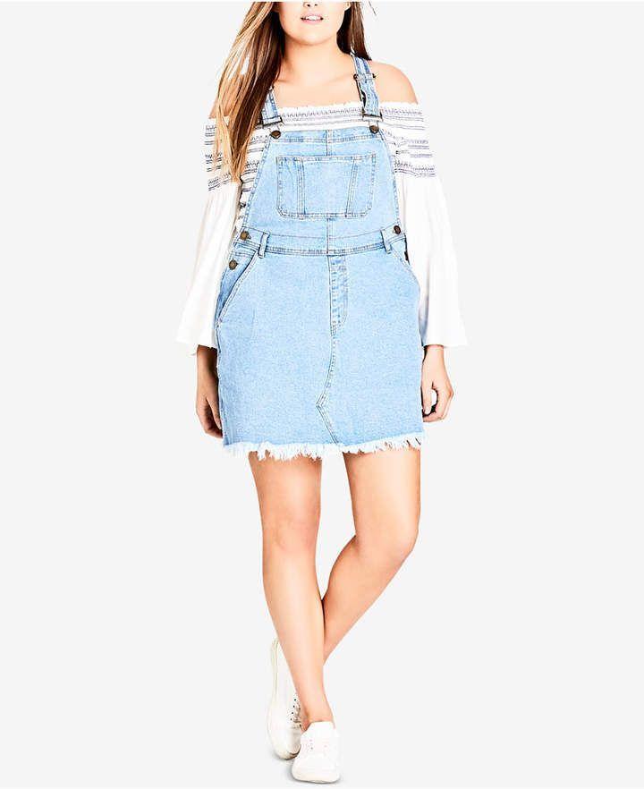 add77b1fb8f City Chic Trendy Plus Size Denim Bib Dress