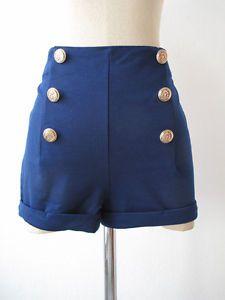 Navy-Rockabilly-034-Escola-034-pin-up-de-cintura-alta-shorts-marinheiro-nautico-Festival-S-M