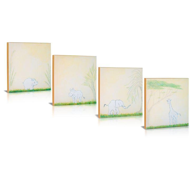 4 Piece Safari Playmates Gallery Wrapped Canvas Art Set
