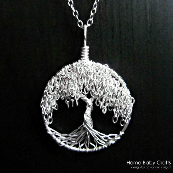 Willow levensboom ketting - solide Sterling zilveren miniatuur boom ketting
