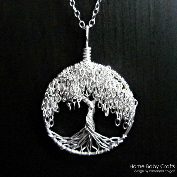 Collier arbre de vie - argent Sterling massif Miniature arbre de saule