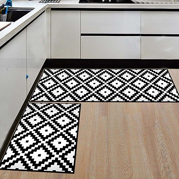Nonslip Kitchen Mats And Rugs Black And White Small Square Geometric Indoor Floor Area Rug Low Prof Geometric Kitchen Floor Area Rugs Bathroom Carpet