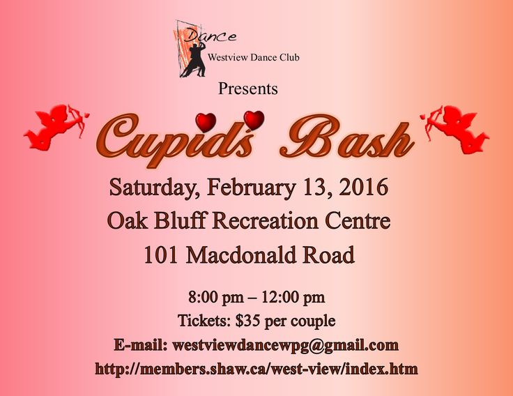 On Saturday, February 13, Westview Dance Club will be holding their Cupid's Bash Dance at Oak Bluff Recreation Centre from 8:00 p.m. to Midnight. The cost is only $35.00 per couple. The dance is alcohol free, but offers non-alcoholic beverages and a light lunch.   So if you are looking for a fun place to go and ballroom dance with your favourite Valentine on Valentine's Day weekend we have just the place for you. For tickets, contact Gerry at: 204-488-8225 or e-mail…
