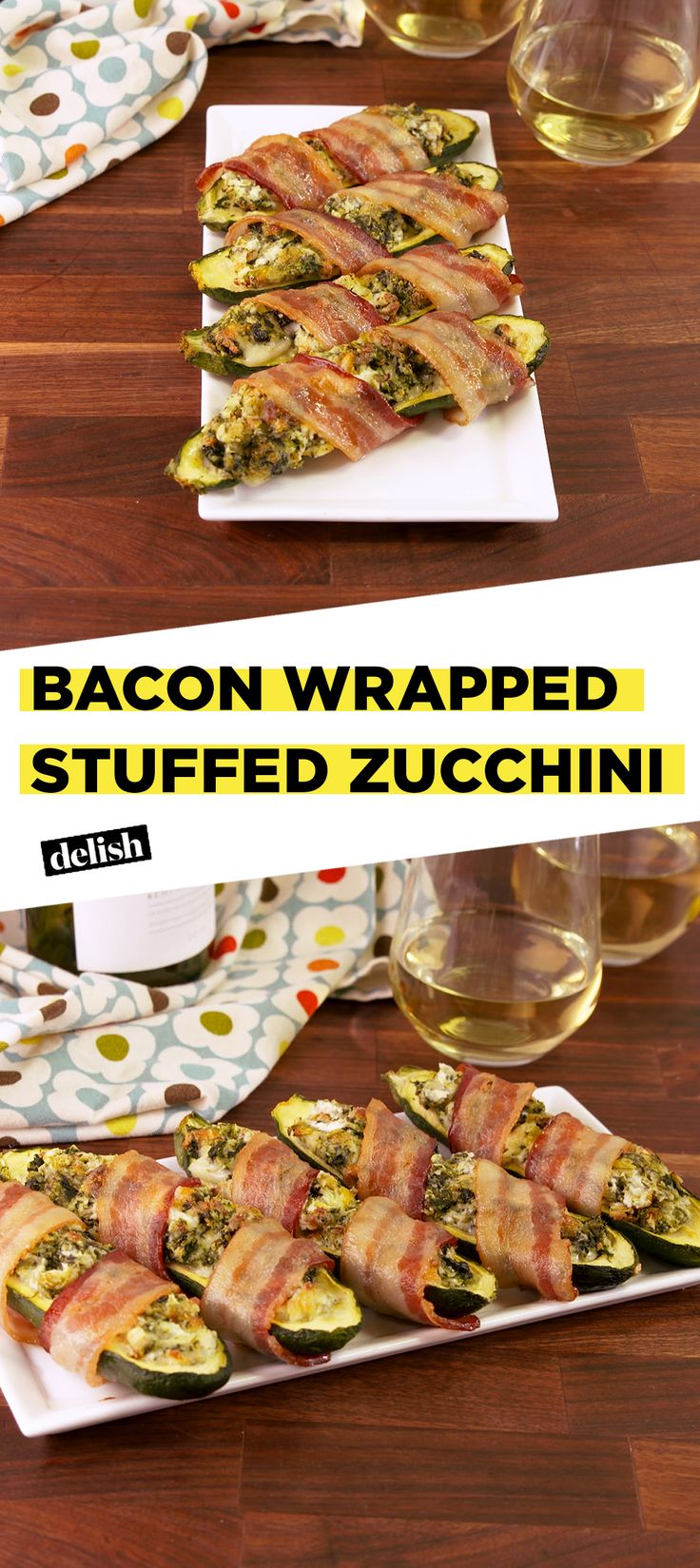 Bacon Wrapped STUFFED Zucchini is the low-carb dinner of your dreams. Get the recipe at Delish.com. #bacon #zucchini #cheese #creamcheese #lowcarb #recipe #easyrecipe #delish