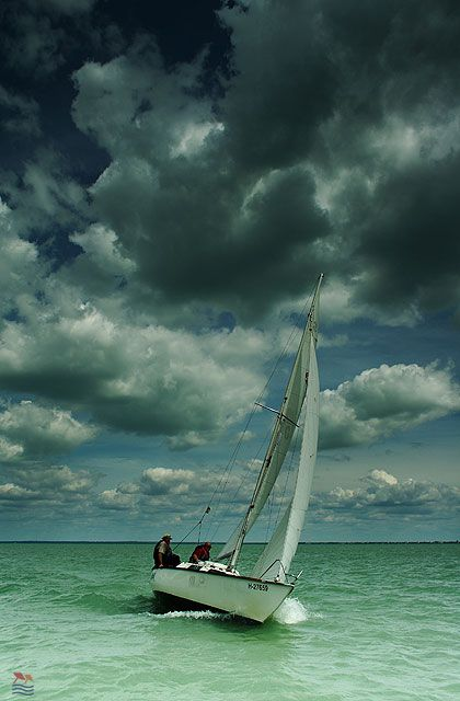 Hungary, Lake Balaton - sailboat# Lake Balaton -Hungary#clouds#wind