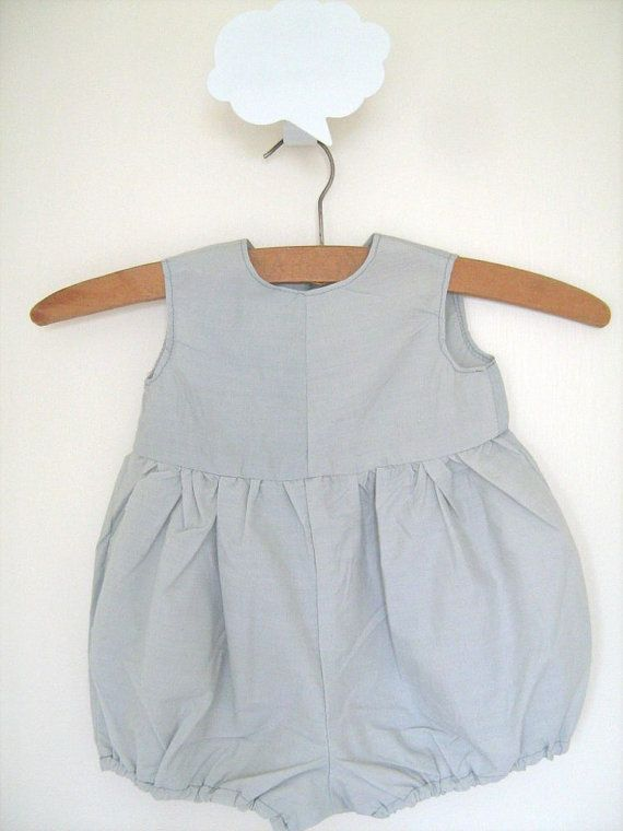 Gorgeous Baby Romper in a grey blue Cotton...Special by AntAtHome, $18.00