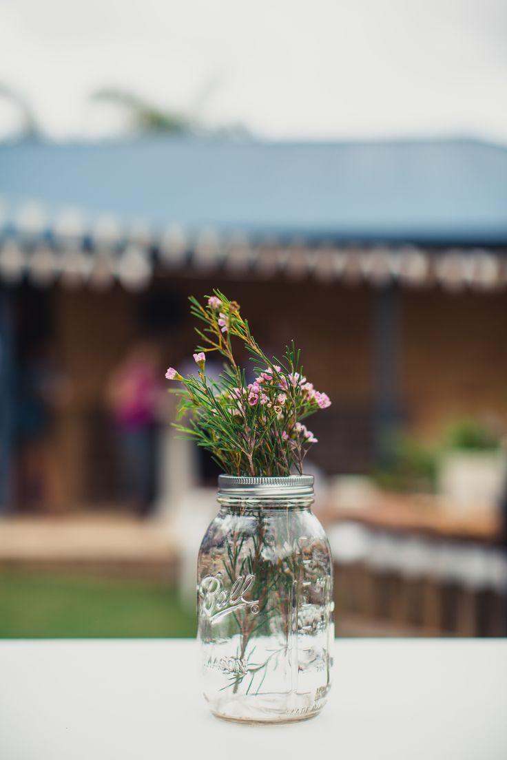 Mason Jar and Geraldton Wax, engagement party decor.