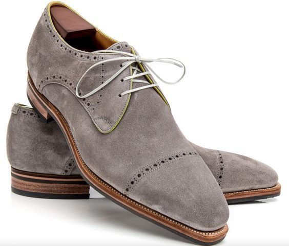 Handmade Oxford Suede Leather Shoes, Men Gray Dress Formal Shoes For Men's - Dress/Formal