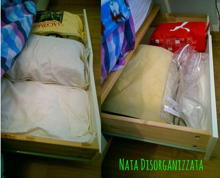 organizzare i cassetti del letto