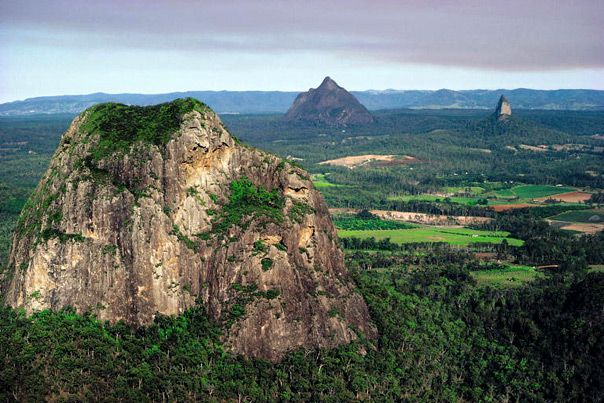 Glasshouse Mountains, Mt. Tibtogargan -Mt. Ngungun extinct volcanoes - Sunshine Coast - http://www.bloggerme.com.au/states/boonah Australia