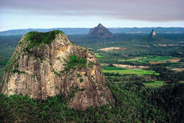 Glasshouse Mountains, Mt. Tibtogargan -Mt. Ngungun extinct volcanoes - Sunshine Coast - Australia