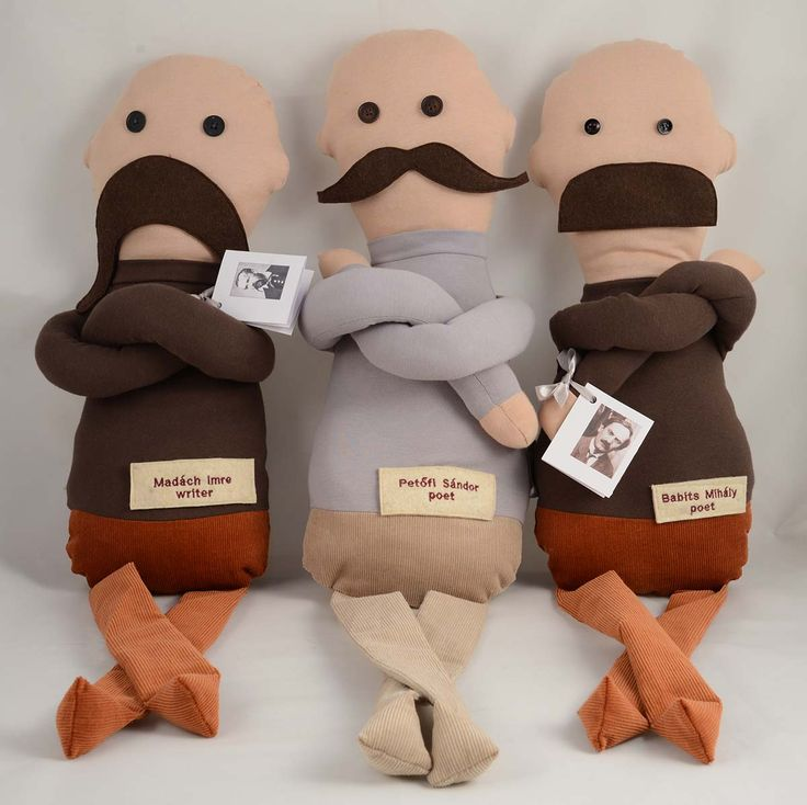 Famous Hungarian Mustaches textile figures designed by Magma http://www.magma.hu/muveszek.php?id=18