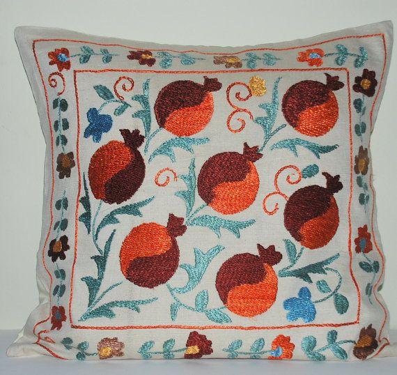 Handwoven Embroidered Silk Suzani Suzeni Pillow Cover Pomegranate Design Decorative Pillow Vintage Pillow Throw Pillow