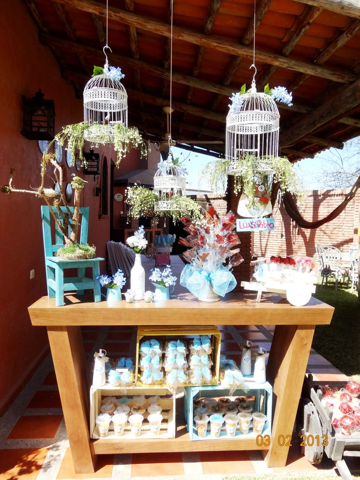 baptsim, party decoration ideas, candy bar, vintage, retro, bird house, kids party, flowers, handmade. decoracion bautizo mesa de postres jaulas