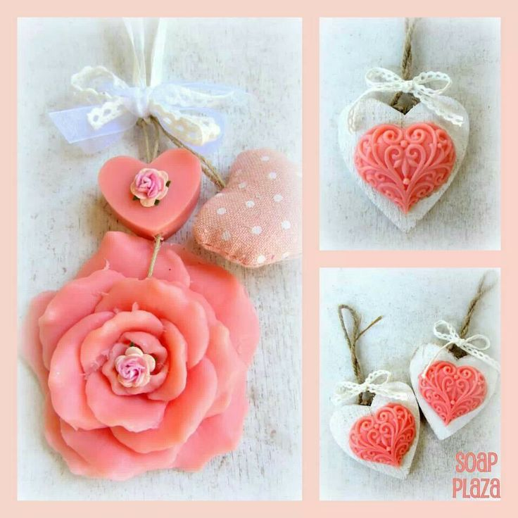 Heart soap and rose soap in a wooden heart