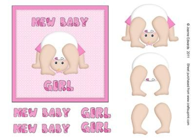 New Baby Girl step by step topper on Craftsuprint - Add To Basket!