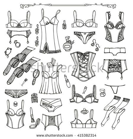 8f76105861 Lingerie woman underwear set.Vector hand drawn doodle fashion underwear  background design. Outline illustration. Bras,panties,feminine, Sexy  lingerie,corset ...