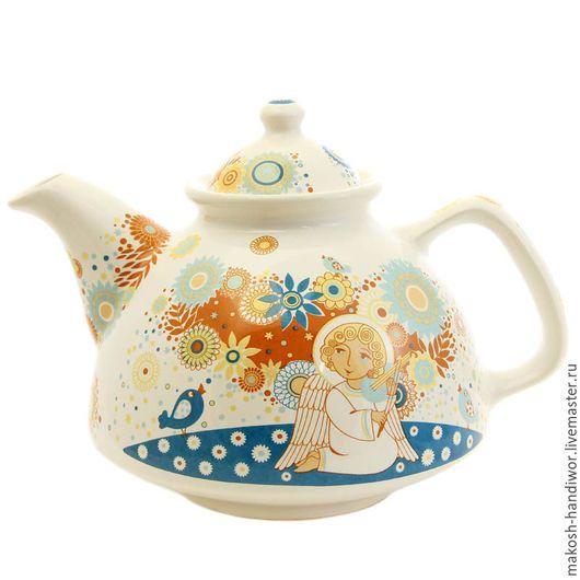 Чайники, кофейники ручной работы. Ярмарка Мастеров - ручная работа. Купить Чайник керамика. Handmade. Комбинированный, чайник с росписью, золото