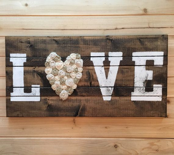 Solid Wood LOVE or HOME Sign with Fabric Rosettes by OliveYou7