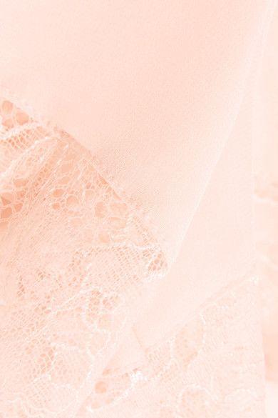 Hanro - Ginevra Leavers Lace-trimmed Silk Crepe De Chine Pajama Shorts - Pastel pink - large
