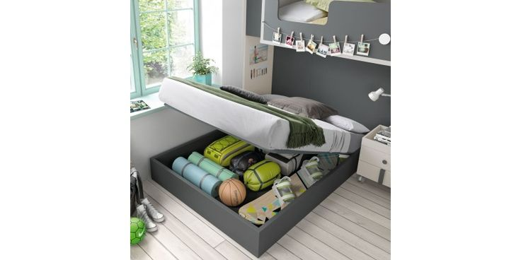 Litera con cama grande y almacenaje en arcón ¿se puede pedir más? ROS Dormitorio Juvenil con Litera en L con Cama Inferior Grande Oldschool Kids