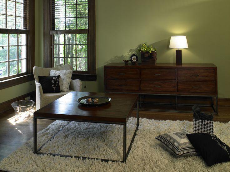 Love The Green With Dark Wood Global Living Bluefish Home Showroom Eclectic Living Room Atlanta Rupal Mamtani