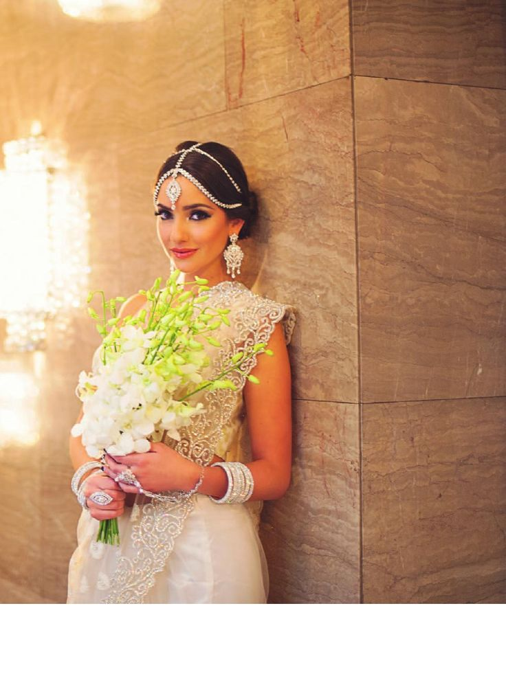 A perfect white bridal saree look fit for a queen :)