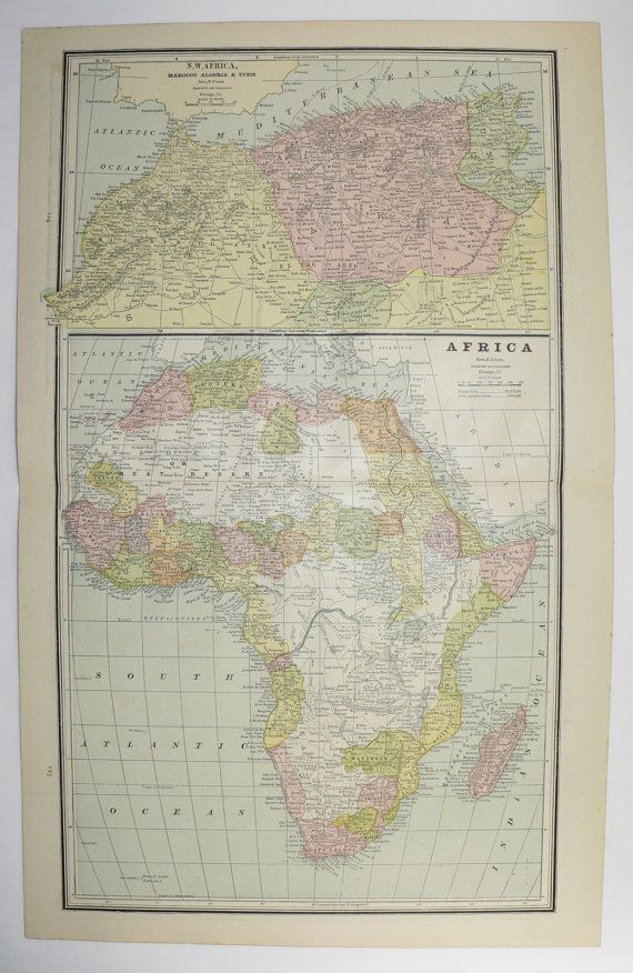 1887 Africa Map, South Africa, Oceanica Polynesia Map, Tropical Islands Vintage Map, African Decor Wall Art Map, New Home Gift available from OldMapsandPrints on Etsy