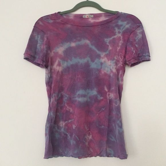 Red Haute Purple, Blue & Pink tie dye shirt. Red Haute Purple, Blue and Pink tie dye inside-out short sleeve shirt. Super Super Soft! Red Haute Tops Tees - Short Sleeve