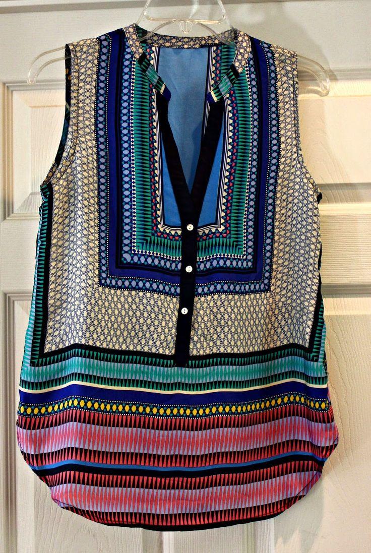 Stitch Fix #6 ~ Teacher Style ~ Fallon Mixed Print Sleeveless Blouse by Brixon Ivy