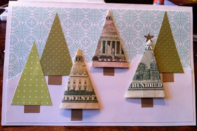 Instead of buying a gift card, I made this card and gave  cash. (If only money really did grow on trees!)