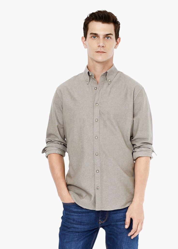 Slim-fit cotton oxford shirt -  Man | MANGO Man Greece