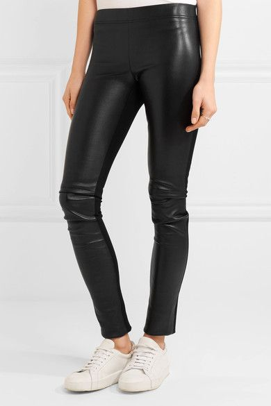Joseph - Leather-paneled Stretch-jersey Leggings - Black - FR36