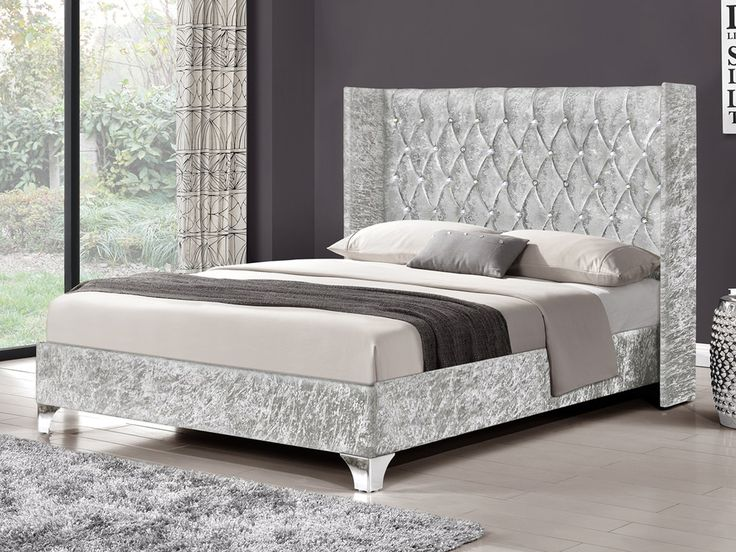 TGC Drogo King Size Silver Crushed Velvet Glitz Fabric Bed Frame