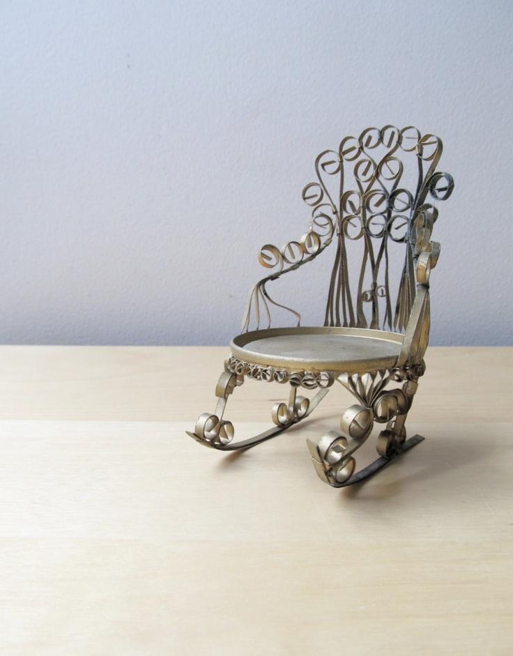 tramp art rocking chair, tin can folk art. $14,00, via Etsy.