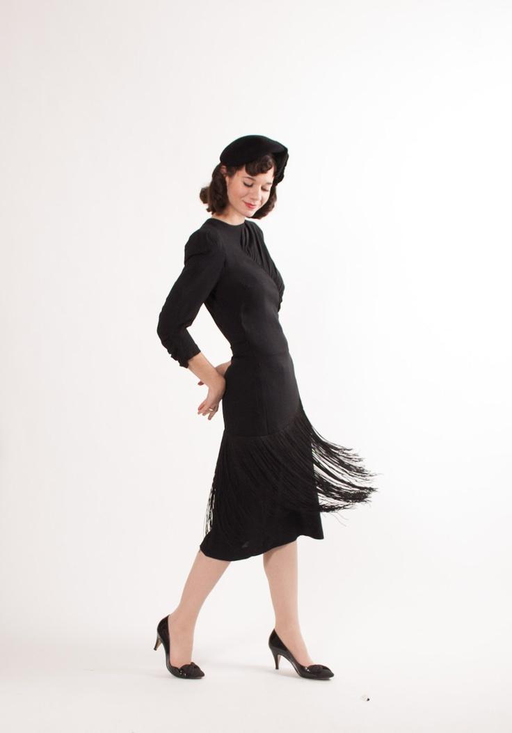 1940s Dress - 40s Film Noir Dress - Black Fringe.