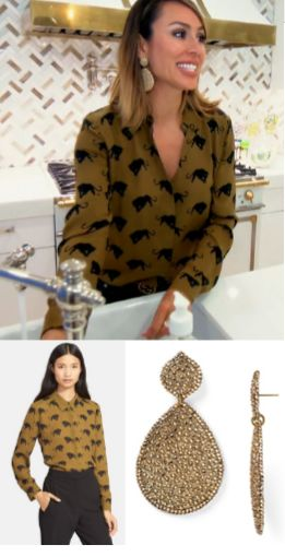 Kelly Dodd's Panther Print Blouse & Large Gold Drop Earrings with Vicki http://www.bigblondehair.com/real-housewives/kelly-dodds-panther-print-blouse-large-gold-drop-earrings/ Real Housewives of Orange County Season 11 Episode 7 Fashion