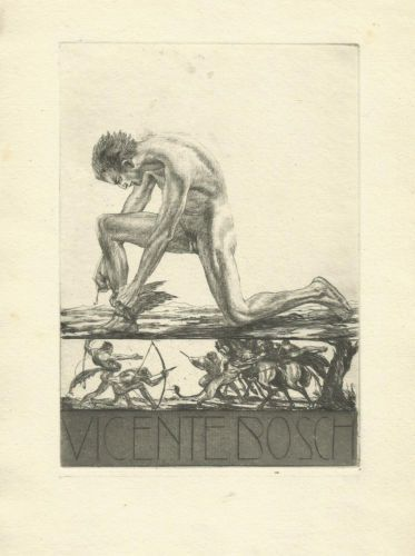 Bookplate by Alois Kolb for Vincente Bosch, ????