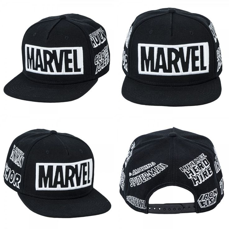 New Marvel Black/White Snapback Hat Spiderman Avengers Cap Costume Cosplay Hat #OfficiallyLicensedBioworld #BaseballCap