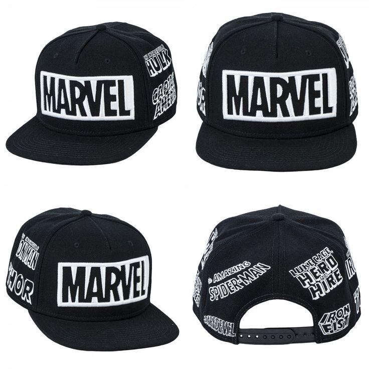New Marvel Black/White Snapback Hat Spiderman Avengers Cap Costume Cosplay Hat #OfficiallyLicensedBioworld #BaseballCap