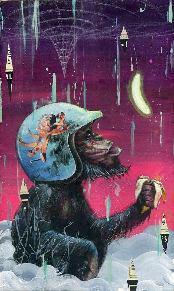 Monkey Art Print - Monkey Artwork - Surreal Art - Chimpanzee Art - Electric Banana by Black Ink Art