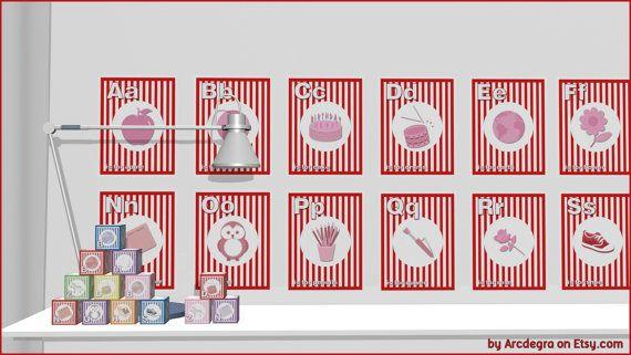 Red Digital flashcards  Alphabet  Printable Toys by ArcDeGra