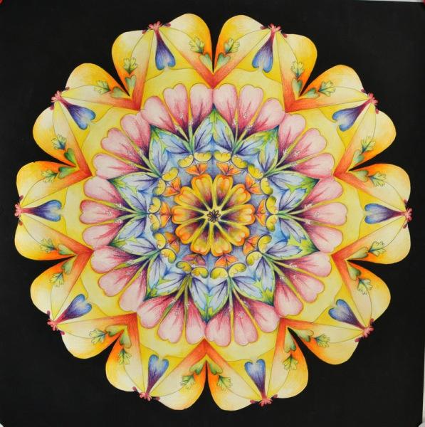 Jasmine, mandala, watercolor, color pencils, pen and acrylic on paper